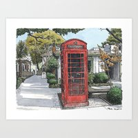 Red Phone Box In Davis Art Print