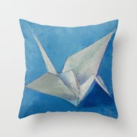 Origami Crane Throw Pillow