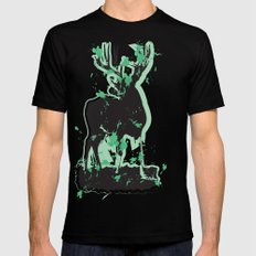 Splatter Deer Mens Fitted Tee Black SMALL