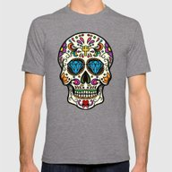 Mexican Skull Mens Fitted Tee Tri-Grey SMALL