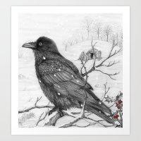 Midwinter Raven V2 Art Print
