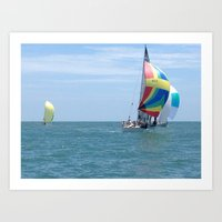 Sail boats, Spinakers, racing, NC coast, Sea scape Art Print