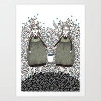 Blueberry Pickers Art Print