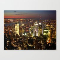 New York Empire State Night Canvas Print