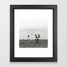 Canadian Geese + Fog Framed Art Print