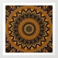Mandala Star Brown Art Print