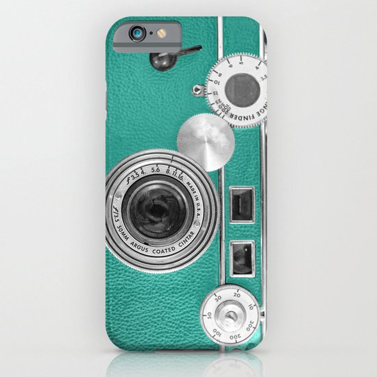 Teal retro vintage phone iPhone & iPod Case