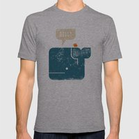 Whale Says Hello to Bird Mens Fitted Tee Athletic Grey SMALL