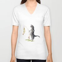 V-neck T-shirt featuring Cat with a Fish by Goosi