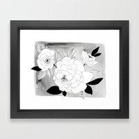 Black And White Floral Framed Art Print