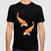 Japanese Koi Mens Fitted Tee Black SMALL