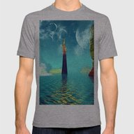 Fantasy Landscape Mens Fitted Tee Athletic Grey SMALL