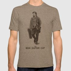 The Man Guitar Cat Mens Fitted Tee Tri-Coffee SMALL