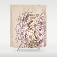 Flowernest zentangle Shower Curtain