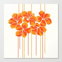 Hibiscus Stripe: Orange … Canvas Print