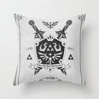 Legend of Zelda Hylian Shield Foundry logo Iconic Geek Line Artly Throw Pillow