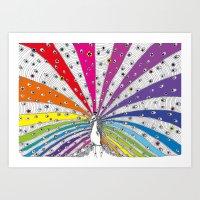 Rainbow-Peacock Art Print