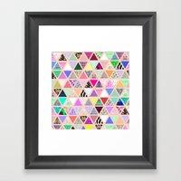 Vintage Abstract Floral Triangle Pastel Patchwork Framed Art Print