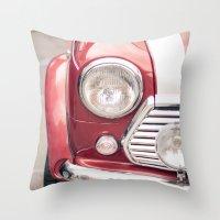 Red Mini Cooper Throw Pillow