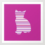 Kitten Stripes Art Print