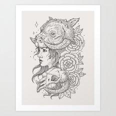 Tauntaun Girl Art Print