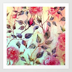 Roses And Splash 2 Art Print