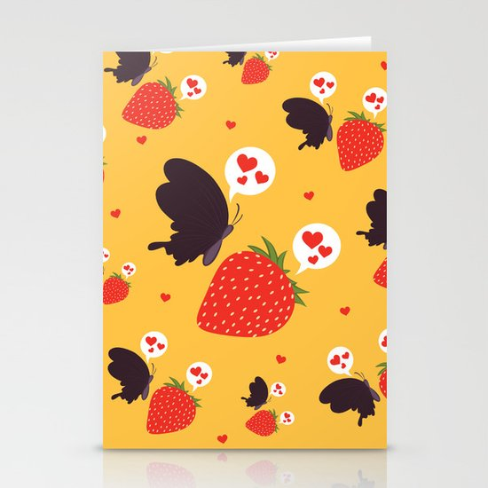 the death loves the strawberry Stationery Card