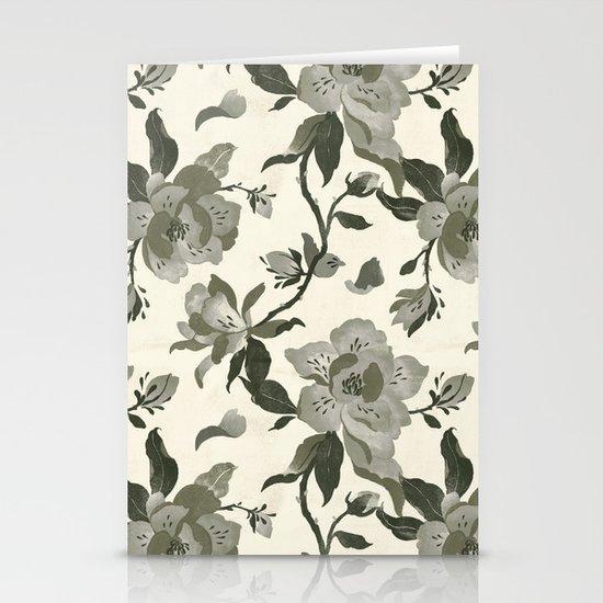 Black Magnolia Pattern Stationery Card