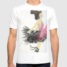 Dance White SMALL Mens Fitted Tee