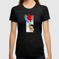 Flying balloon Womens Fitted Tee Tri-Black SMALL