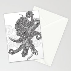 Octopus Bloom black and white Stationery Cards