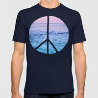 Waves & Peace Mens Fitted Tee Navy SMALL
