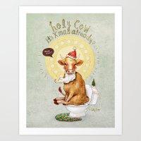 Holy Cow-Christmas Editi… Art Print