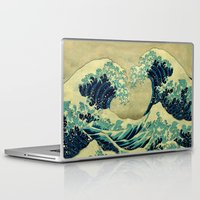 japanese Laptop & iPad Skins featuring The Great Blue Embrace at Yama by Kijiermono