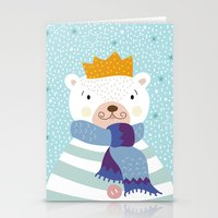 polar bear Stationery Cards featuring Polar Bear by Vero Gobet