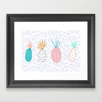Pineapple. Illustration, print, pattern, fruit, design, fun, Framed Art Print