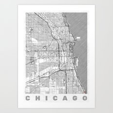 Chicago Map Line Art Print