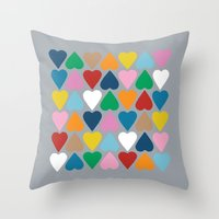Up and Down Hearts on Grey Throw Pillow