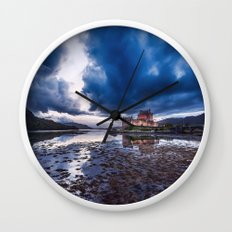 Dark Skies at Eilean Donan Castle Wall Clock