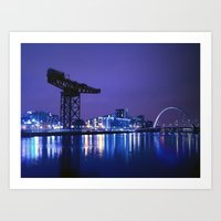 The River Clyde At Night Art Print
