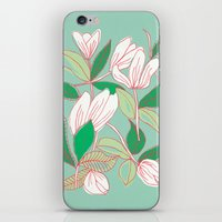 Floating Tulips (mint green) iPhone & iPod Skin