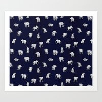 baby Art Prints featuring Indian Baby Elephants in Navy by Estelle F