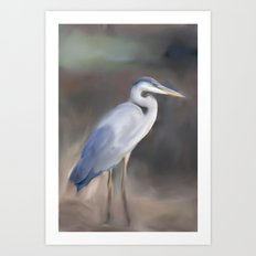 Blue Heron Paining  Art Print