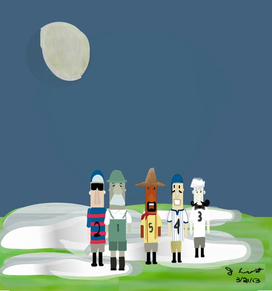 Racing Sausages Beneath a Waxing Gibbous Canvas Print