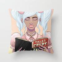 Girls read comics too, Crypt Throw Pillow