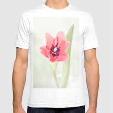 Pretty Pink Tulip SMALL Mens Fitted Tee White