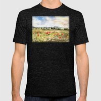 Poppies at the Lake Balaton Mens Fitted Tee Tri-Black SMALL