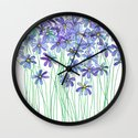 Purple Daisies in Watercolor & Colored Pencil Wall Clock