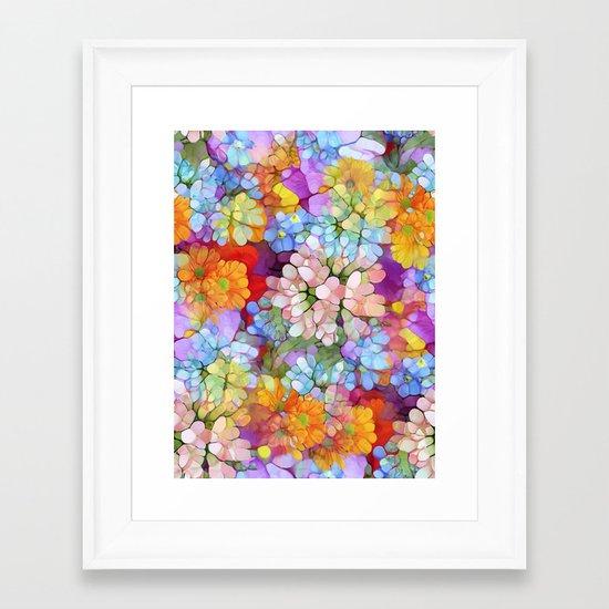 Rainbow Flower Shower Framed Art Print