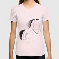 Horsie Womens Fitted Tee Light Pink SMALL